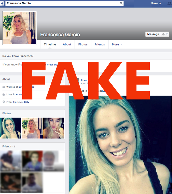 francesca garcin fake facebook profile
